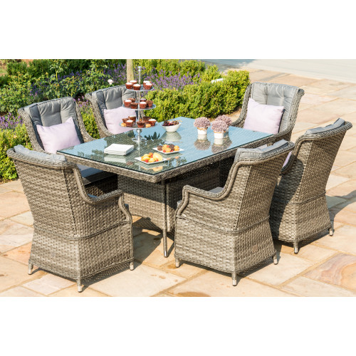 Victoria 6 Seat Rectangle Dining Set with Square Chairs