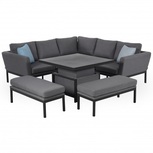 Pulse Square Corner Dining Set with Rising Table / Flanelle