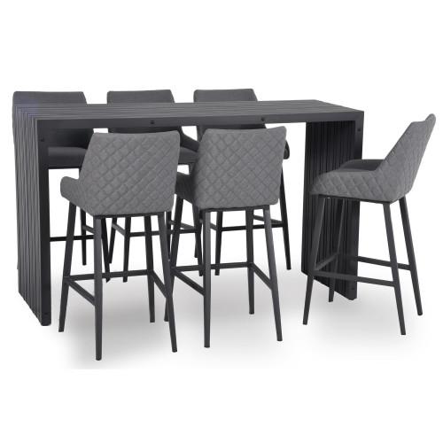 Regal 6 Seat Rectangular Bar Set / Flanelle