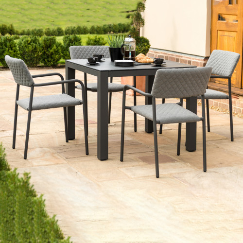 Bliss 4 Seat Square Dining Set / Flanelle