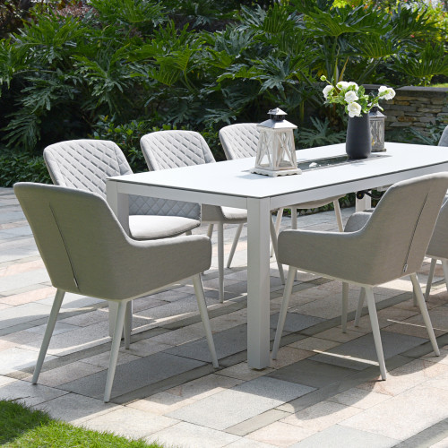 Zest 8 Seat Rectangular Dining Set with Fire Pit Table / Lead Chine