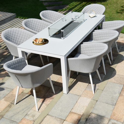 Ambition 8 Seat Rectangular Fire Pit Dining Set / Lead Chine