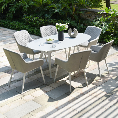 Zest 6 Seat Oval Dining Set / Lead Chine
