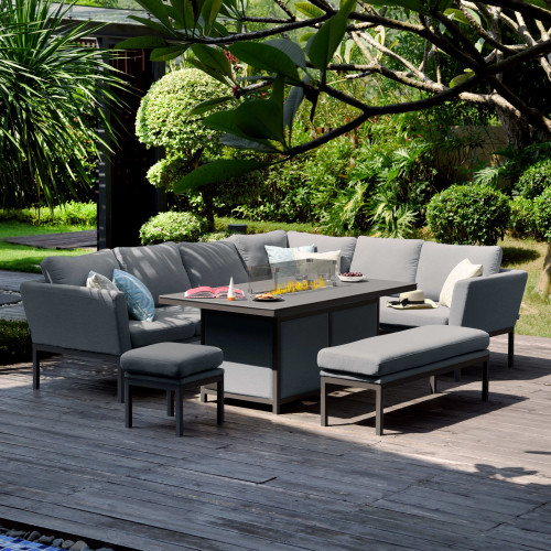 Pulse Rectangular Corner Dining Set - With Fire Pit Table / Flanelle