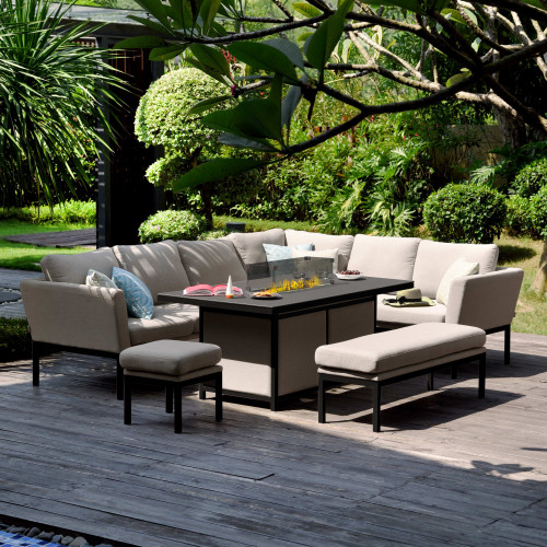 Pulse Rectangular Corner Dining Set - With Fire Pit Table / Taupe