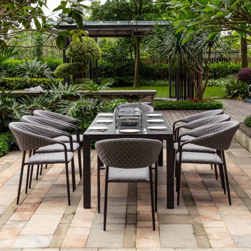 Pebble 8 Seat Rectangular Dining Set - Fire Pit Table / Flanelle