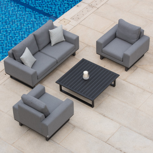 Ethos 2 Seat Sofa Set with Coffee Table / Flanelle