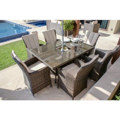 LA 6 Seat Rectangular Ice Bucket Dining Set / Brown