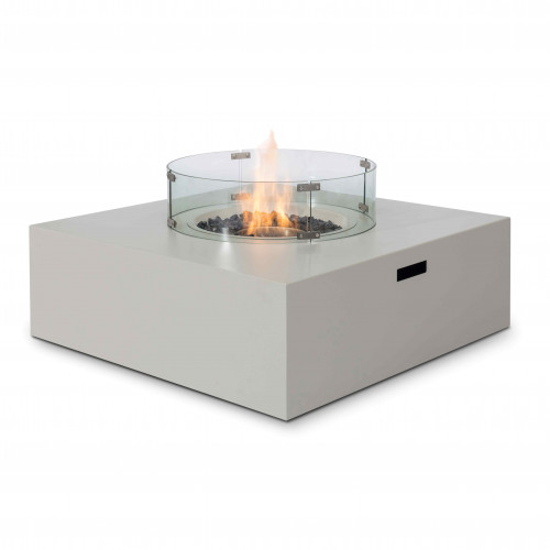 Fire Pit Coffee Table 100cm x 100cm Square  / Pebble White