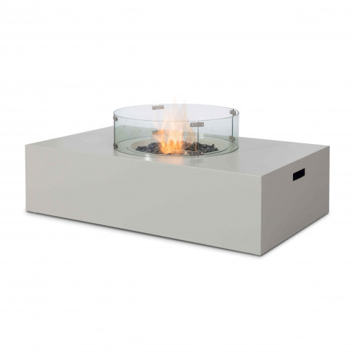 Fire Pit Coffee Table 127cm x 77cm Rect / Pebble White