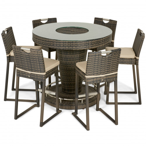 6 Seat Bar Set with Ice Bucket / Brown