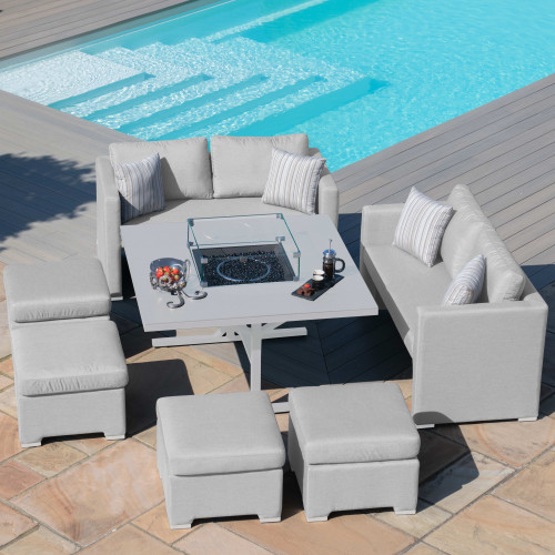 Fuzion Cube Sofa Set with Fire Pit / Lead Chine