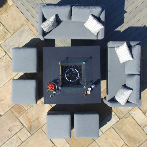 Fuzion Cube Sofa Set with Fire Pit / Flanelle