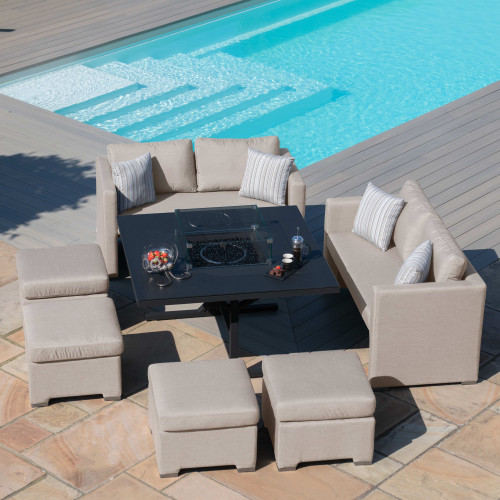 Fuzion Cube Sofa Set with Fire Pit / Taupe