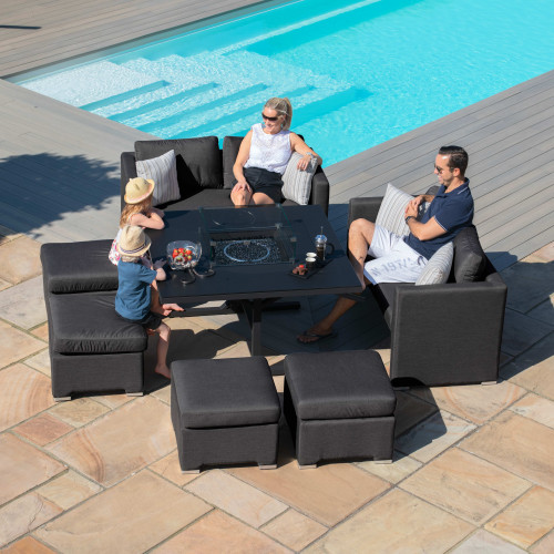 Fuzion Cube Sofa Set with Fire Pit / Charcoal