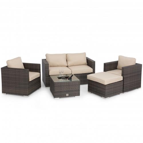 Georgia 2 Seat Sofa Set with Ice Bucket / Brown