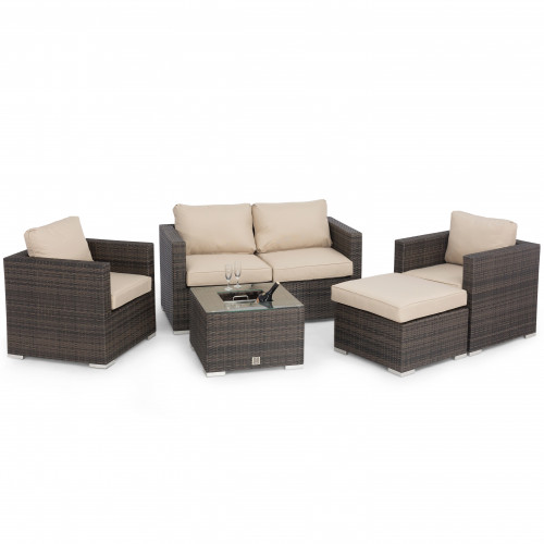 Georgia 2 Seat Sofa Set with Ice Bucket / Brown