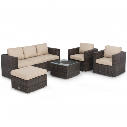 Georgia 3 Seat Sofa Set With Ice Bucket / Brown
