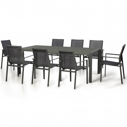 New York 8 Seat Rectangular Dining Set / Grey