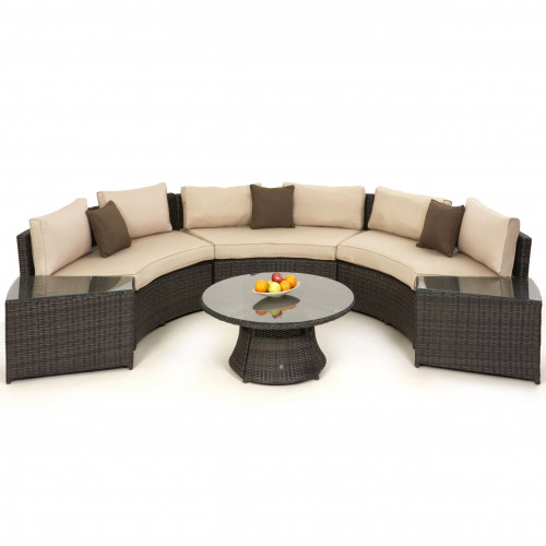 Half Moon Sofa Set / Brown