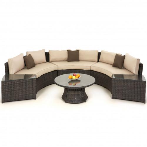 Half Moon Sofa Set / Brown