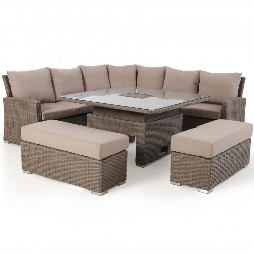 Harrogate Deluxe Corner Dining Set - With Rising Table & Ice Bucket
