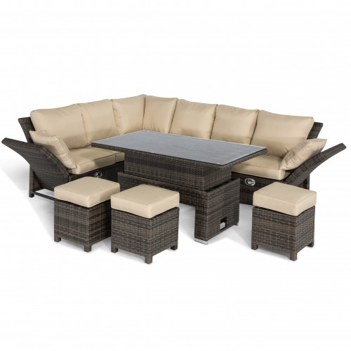 Henley Corner Dining Set with Rising Table / Brown
