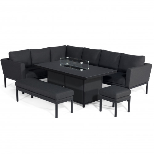 Pulse Rectangular Corner Dining Set - With Fire Pit Table / Charcoal