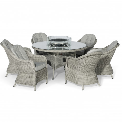 Oxford 6 Seat Round Fire Pit Dining Set with Heritage Chairs and Lazy Susan