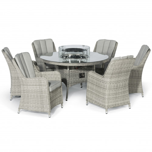 Oxford 6 Seat Round Fire Pit Dining Set with Venice Chairs and Lazy Susan