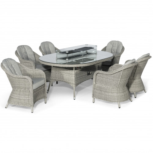 Oxford 6 Seat Oval Fire Pit Dining Set with Heritage Chairs
