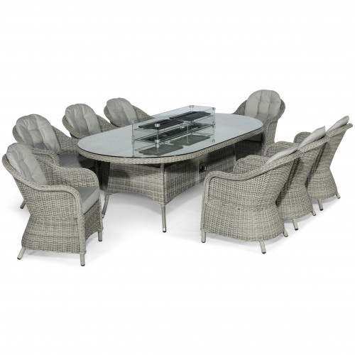 Oxford 8 Seat Oval Fire Pit Dining Set with Heritage Chairs