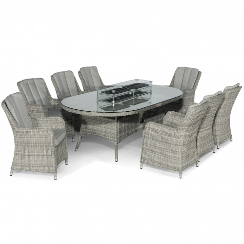 Oxford 8 Seat Oval Fire Pit Dining Set with Venice Chairs