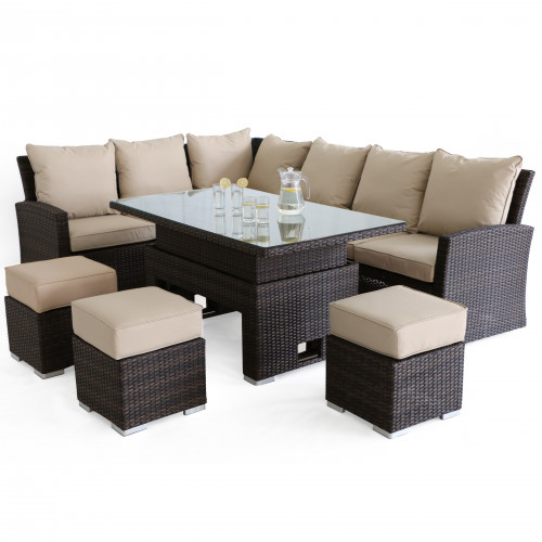Kingston Corner Dining Set with Rising Table / Brown