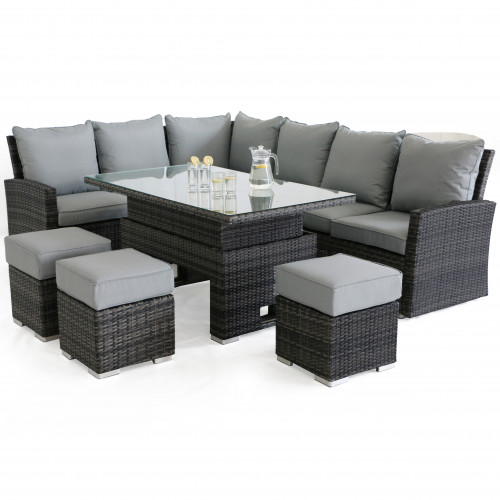 Kingston Corner Dining Set with Rising Table / Grey