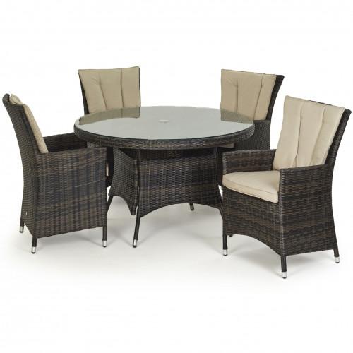 LA 4 Seat Round Dining Set / Brown
