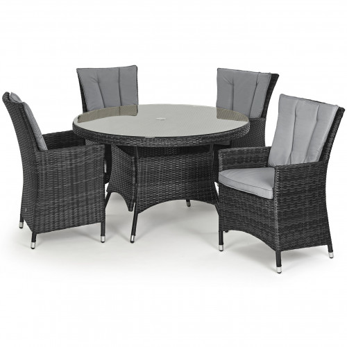LA 4 Seat Round Dining Set / Grey