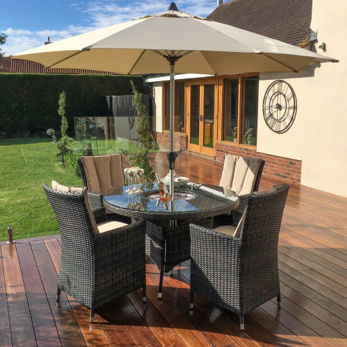 LA 4 Seat Round Ice Bucket Dining Set with Parasol/ Brown