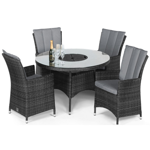 LA 4 Seat Round Ice Bucket Dining Set / Grey
