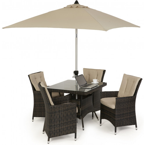 LA 4 Seat Square Dining Set with Parasol / Brown