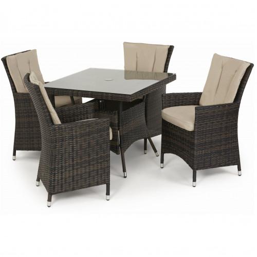 LA 4 Seat Square Dining Set / Brown