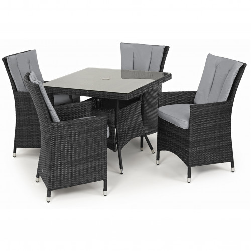 LA 4 Seat Square Dining Set / Grey