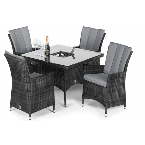 LA 4 Seat Square Ice Bucket Dining Set / Grey