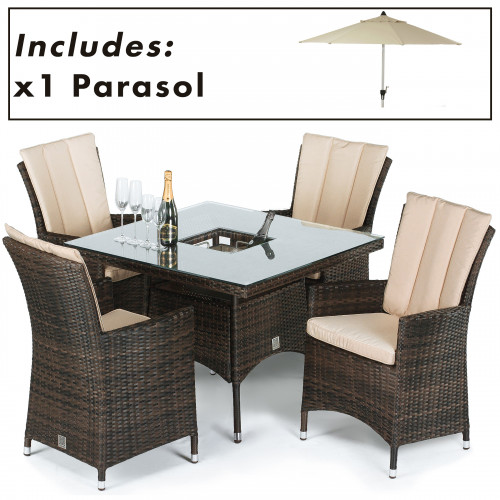 LA 4 Seat Square Ice Bucket Dining Set with Parasol / Brown