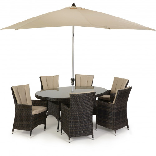 LA 6 Seat Oval Dining Set with Parasol / Brown