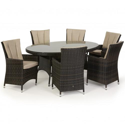 LA 6 Seat Oval Dining Set / Brown