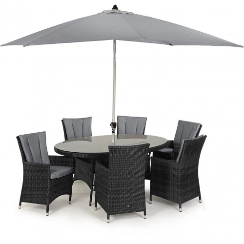 LA 6 Seat Oval Dining Set with Parasol/ Grey