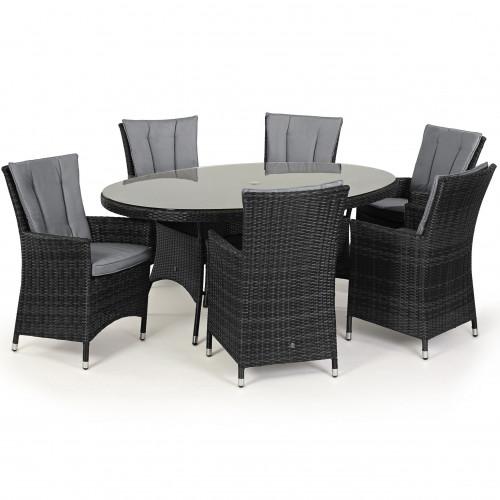LA 6 Seat Oval Dining Set / Grey