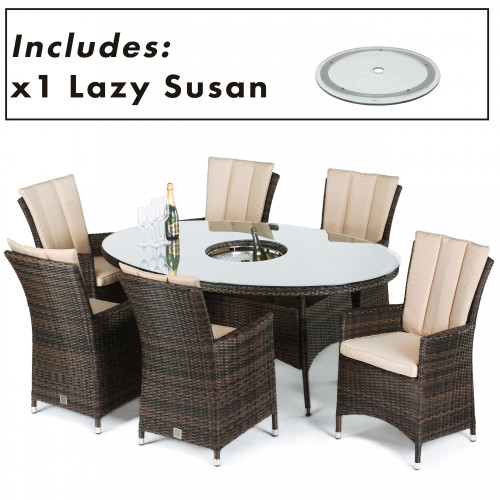 LA 6 Seat Oval Ice Bucket Dining Set with Lazy Susan / Brown
