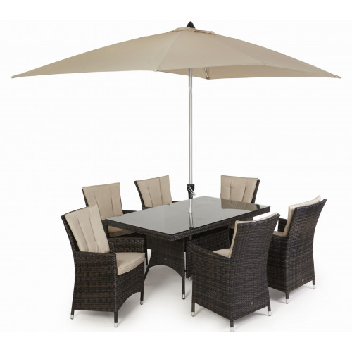 LA 6 Seat Rectangle Dining Set with Parasol/ Brown